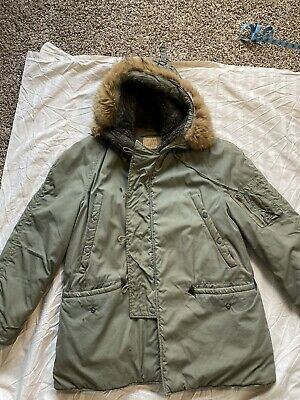 $ CDN53.26 • Buy Vintage Military N-3B Extreme Cold Weather Parka Hooded Jacket Mens Size (Large)
