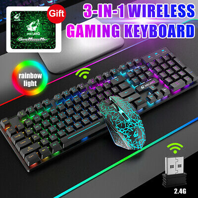 AU49.59 • Buy 3-IN-1 Wireless 2.4G Rainbow Backlit Gaming Keyboard Mouse Combo Keypads For PC