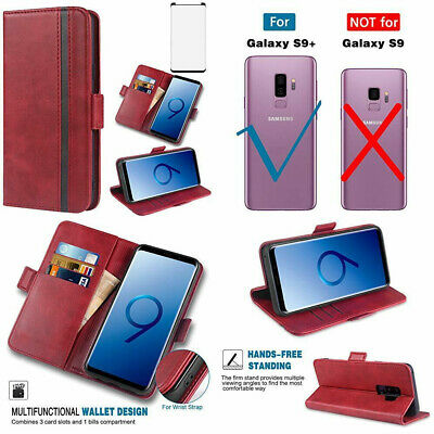 $ CDN31.25 • Buy For Samsung Galaxy S9 Plus Wallet Case PU Leather Card Slots Kickstand Cover Red