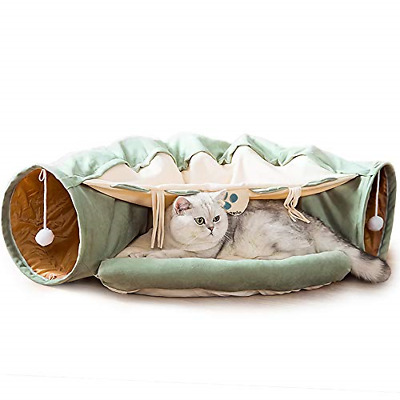 £41.17 • Buy Cat Tunnel Bed With Cushion Mat, Cat Tunnel Toy Play Center With Collapsible And