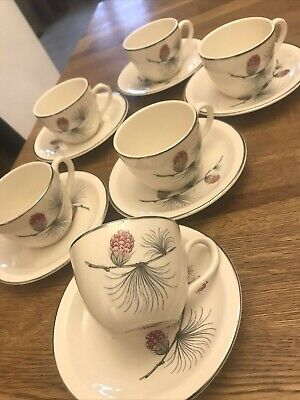 £9.99 • Buy Vintage New Russell Hobbs 6x Expresso Coffee Cup 6x Saucer Set Pine Cones
