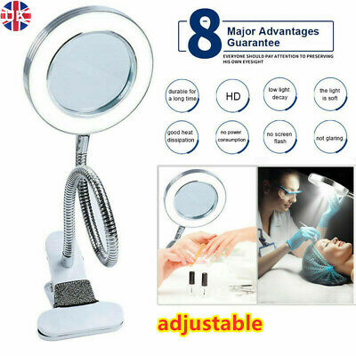 £9.99 • Buy LED Desk Lamp 8X Magnifier Glass Foldable Light Stand Clamp Beauty Magnifying UK