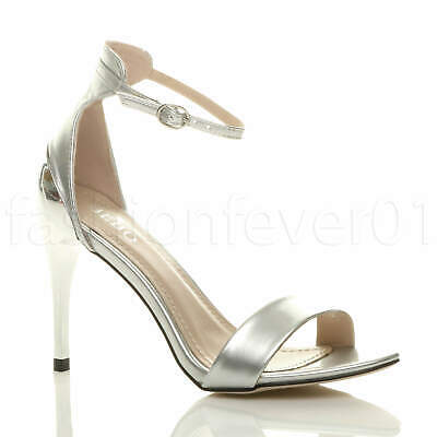 £14.99 • Buy Womens Ladies High Heel Ankle Strap Strappy Evening Wedding Sandals Shoes Size