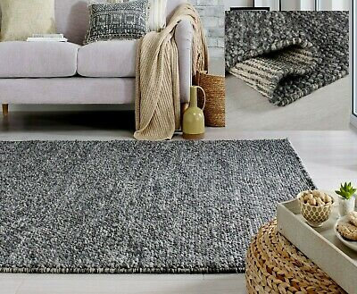 £123.30 • Buy Small Large Thick Dark Grey Charcoal Pebbles Bobbly 100% Wool 3d Minerals Rug