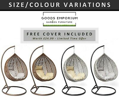 £24.99 • Buy Rattan Garden Hanging Egg Swing Chair Patio Hammock Cocoon With Stand & Cushions