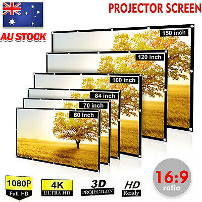 """AU24.85 • Buy 150"""" Foldable Projector Screen Portable Outdoor Home Movie Cinema 16:9 HD 1080P"""