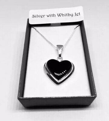 £48 • Buy Whitby Jet  Heart Pendant, With Sterling Silver 18 Inch Curb Chain