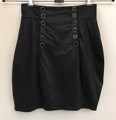 £15 • Buy FRENCH CONNECTION Black Satin High Waist Button Up Tulip Mini Skirt Size 6