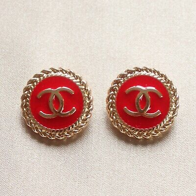 £21.82 • Buy Set Of 2 Chanel Buttons 22mm, Red, Gold, Enamel, Stamped