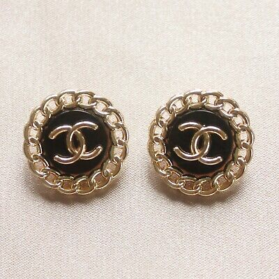£23.27 • Buy Set Of 2 Chanel Buttons 23mm, Black, Gold, Stamped