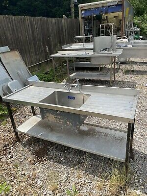 £300 • Buy 1.8M Single Bowl / Double Drainer Commercial Stainless Steel Sink On Iron Legs.