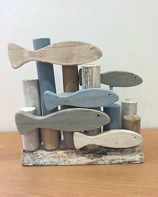 £18.99 • Buy Small Wooden Shoal Of Fish Sculpture Nautical Home Seaside Bathroom Décor