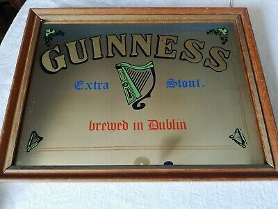 £138 • Buy Rare Vintage Pub Mirror Guinness Extra Stout Brewed In Dublin Harp Man Cave