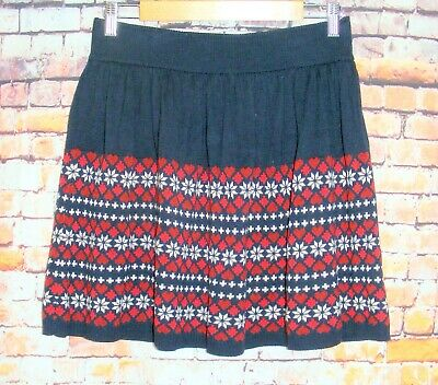 £10 • Buy Primark Knitted Skirt Size 10 Elasticated Waist Gathered Mini Blue/red Hearts