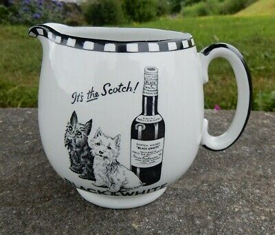 £109 • Buy Rare Small Size Shelley Pottery Black White Scottie Dogs Whisky Water Pub Jug