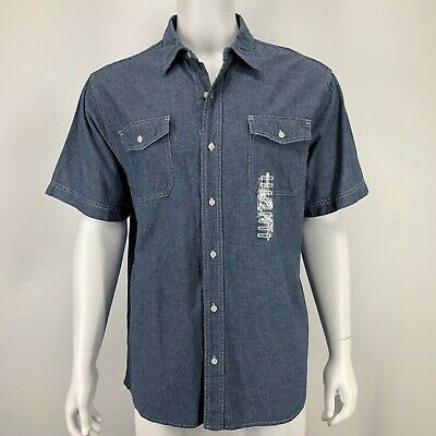 $19.98 • Buy Mens XL Chambray Blue Shirt Button Front Short Sleeve Cotton