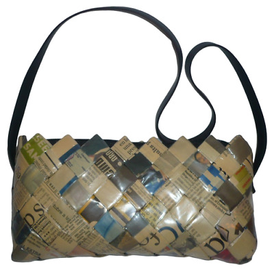£7.95 • Buy QUIRKY HANDMADE Zipped Shoulder Bag Lattice Recycled Newspaper 9  X 4.5