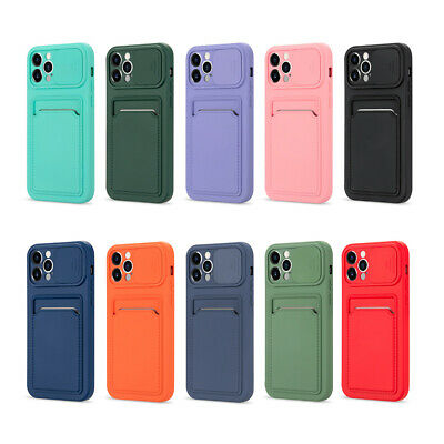 AU10.29 • Buy For IPhone 11 12 Pro Max XS XR Slide Lens Silicone Case Wallet Card Holder Cover