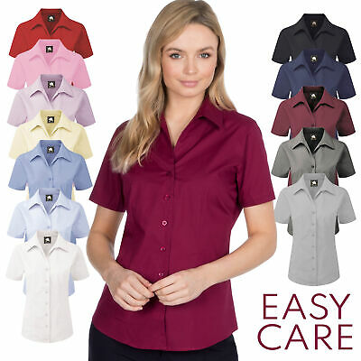 £8.99 • Buy Ladies Womens Formal Shirt Buttons Up Plain Office Wear Workwear Classic Collar