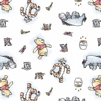 £4.50 • Buy Disney Fabric - Winnie The Pooh - Pooh & Friends - White - Cotton Multiple Sizes