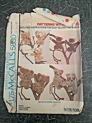 £4.99 • Buy McCall's 5830 Patterns With A Plus. Set Of 11  Stuffed Animals. FREE POST