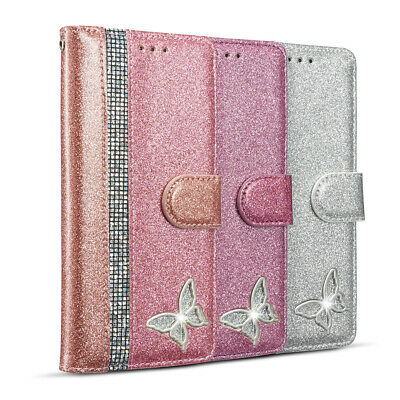 AU13.88 • Buy For IPhone 12 11 Pro Max XS Glitter Leather Wallet Case Magnetic Flip Card Cover
