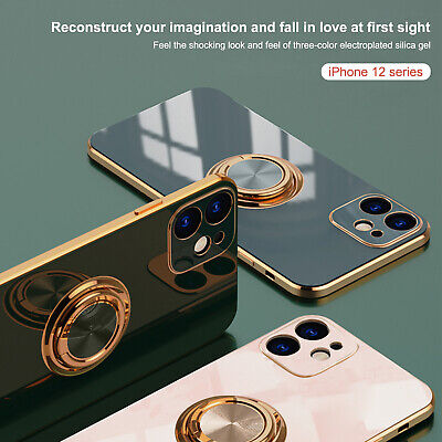 AU10.49 • Buy For IPhone 11 12 Pro Max XS X XR 8 7+ Magnetic Ring Stand Plating TPU Case Cover