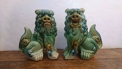 £34.99 • Buy Vintage Pair Ceramic Chinese Foo Dog Statues Figures Ornaments Pottery Green