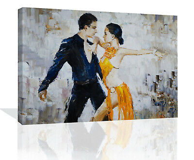£11.49 • Buy Beautiful Man Woman Tango Dancers Oil Painting Canvas Wall Art Picture Print
