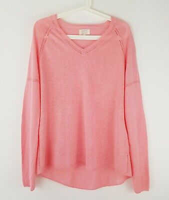 £14.99 • Buy Not Shy France Pink Pure 100% Linen Slouchy Knit Jumper Size L Lightweight Thin