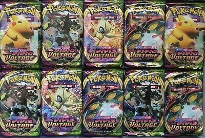 $49.85 • Buy 10 Vivid Voltage Booster Pack Lot - Brand New, Factory Sealed, Pokemon TCG