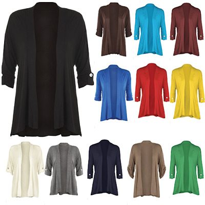£8.99 • Buy Ladies Short Sleeve Button Open Cardigan Womens Stretch Top All UK Sizes 8-26