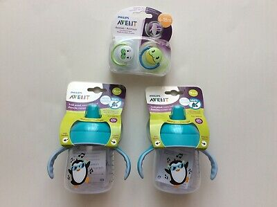 £14.48 • Buy Philips Avent Sippy Cups 2 Pack Spout Penguin Cups 9 Oz Ages 9 M+ 2 Pacifiers