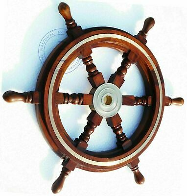 £4829.70 • Buy Collectable Vintage Brass Wooden Ship Wheel Pirate Captain Boat Steering 18  New