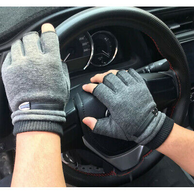 $9.45 • Buy Adults Thermal Fingerless Thick Knitted Winter Warm Half Finger Driving Gloves