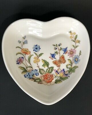 £10.11 • Buy Aynsley Bone China  Heart Shaped Trinket Dish Cottage Garden Floral & Butterfly