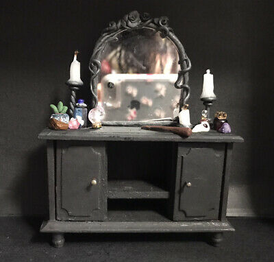 £14.99 • Buy Dolls House Handmade Miniature Halloween Witches Dressing Table, Gothic Mirror