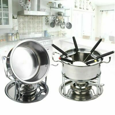 £10.52 • Buy Hot Cheese Chocolate Fondue Set Melting Pot 6 Forks Stainless Steel Fuel Burner