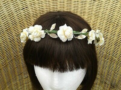 £6.80 • Buy Bridesmaids,flowergirl Ivory Rose And Silver Leaf Self Tie Headdress, Perfect Fi