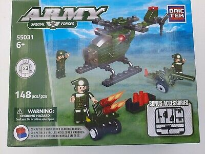 £11.63 • Buy Brictek Army Special Forces 148 Pcs Building Set Helicopter Extras NEW BC-680