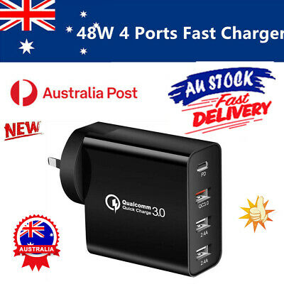 AU17.66 • Buy QC3.0 48W PD Fast Charging Charger Multi USB Type C Wall Adapter 4 Port AU Plug