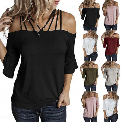£9.69 • Buy Womens Bell Sleeve Casual T Shirt Blouse Tee Ladies Off Shoulder Pullover Tops