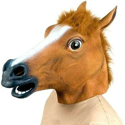 £9.99 • Buy Rubber Horse Head Mask Fancy Party  Halloween Adult Costume