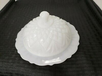 $6.99 • Buy Milk Glass Paneled Round Butter Covered Cheese Dish