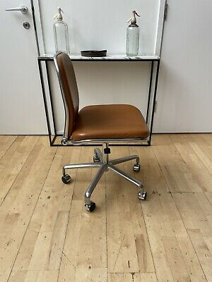 £550 • Buy Vintage Tan Leather Fred Scott Supporto Task Chair Polished Aluminium Hille