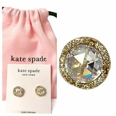 $ CDN40.90 • Buy Kate Spade Gold Tone Clear Crystal That Sparkle Pave Round Large Stud Earrings