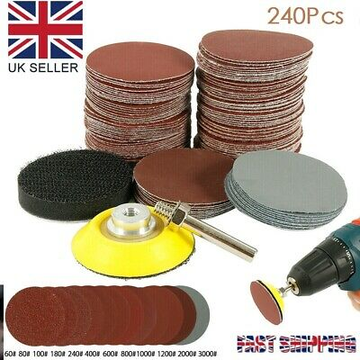 £8.99 • Buy 240PCS 50MM Sanding Discs Pad Kit For Drill Grinder Rotary Tools + Backing Pad