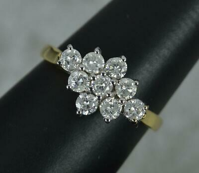 £925 • Buy Very Sparkly 18 Carat Gold And 1.00ct Diamond Cluster Ring