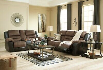 $1295 • Buy Ashley Furniture Earhart Chestnut Reclining Sofa And Loveseat Living Room Set