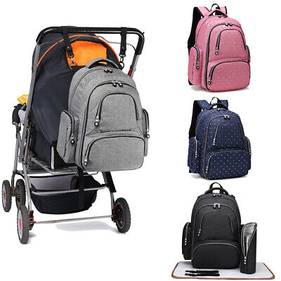 £17.99 • Buy 4PCS Multi-function Baby Diaper Nappy Backpack Mummy Changing Bag Pram Clip